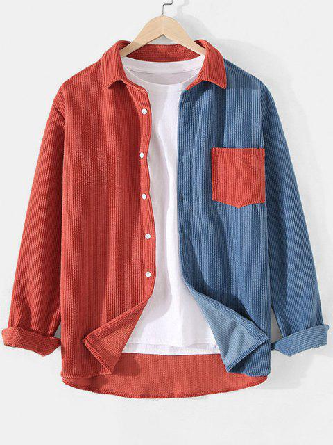 new Corduroy Colorblock Pocket Shirt - SILK BLUE 3XL Mobile