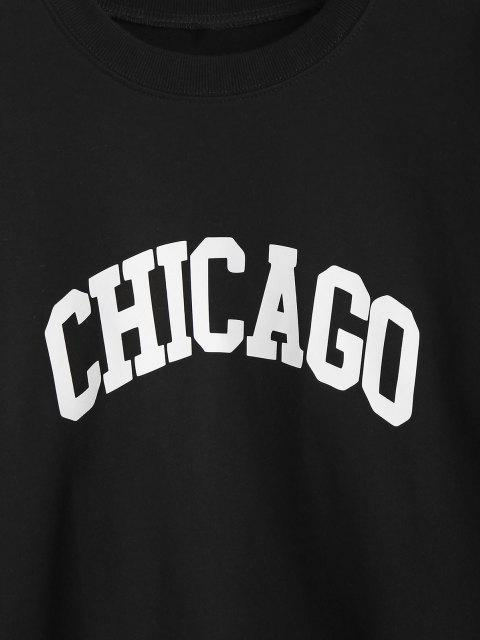unique Crewneck Chicago Graphic Sweatshirt - BLACK M Mobile