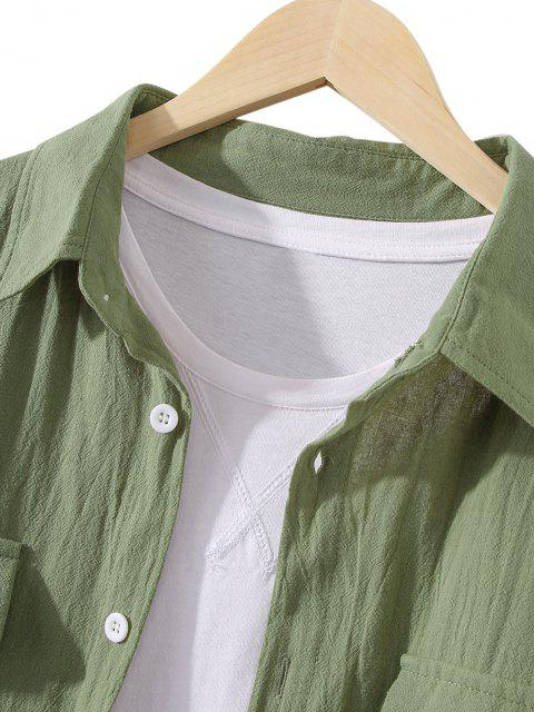 outfit Pockets Button Up Casual Shirt - FERN GREEN XL Mobile