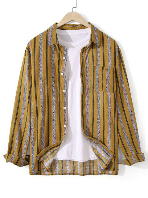 outfits Striped Chest Pocket Button Up Tunic Shirt - DEEP YELLOW S Mobile