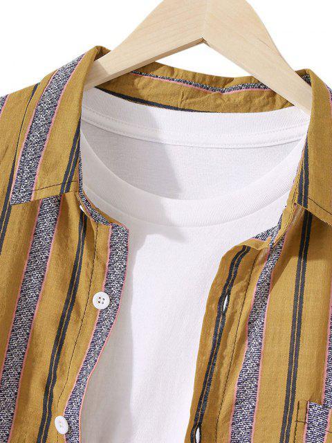 women Striped Chest Pocket Button Up Tunic Shirt - DEEP YELLOW 2XL Mobile