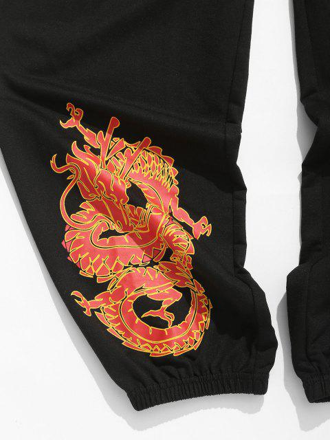 outfit ZAFUL Dragon Print Drawstring Oriental Sweatpants - BLACK 2XL Mobile