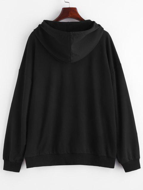 ZAFUL Drop Shoulder Burning Flame Pocket Hoodie - أسود M Mobile