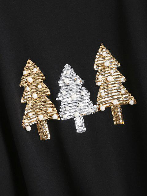 hot Beading Sequins Christmas Trees Sweatshirt - BLACK S Mobile