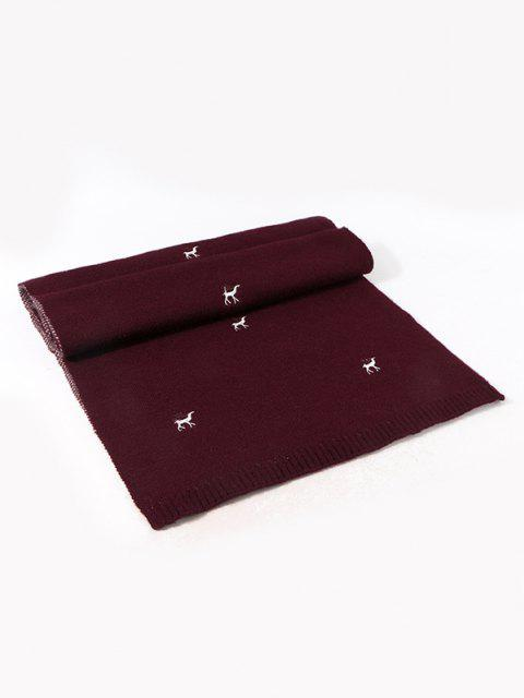 women Embroidery Elk Pattern Knitted Scarf - DEEP RED  Mobile