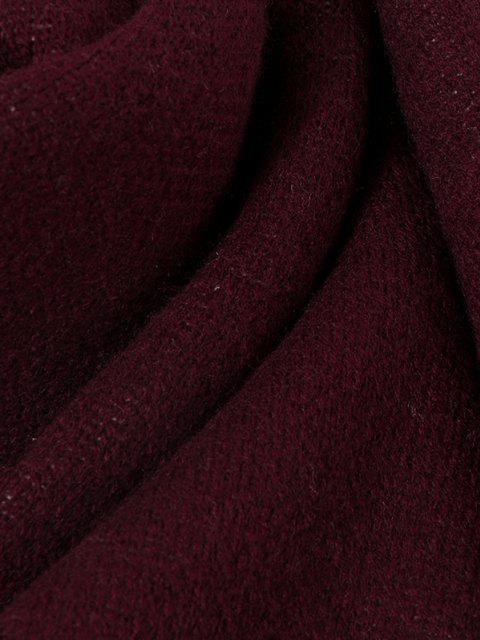 Cachecol Lomga de Lã com Bordado de Padrão de Alces - Vermelho escuro  Mobile