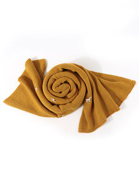 ladies Embroidery Elk Pattern Knitted Scarf - BEE YELLOW  Mobile