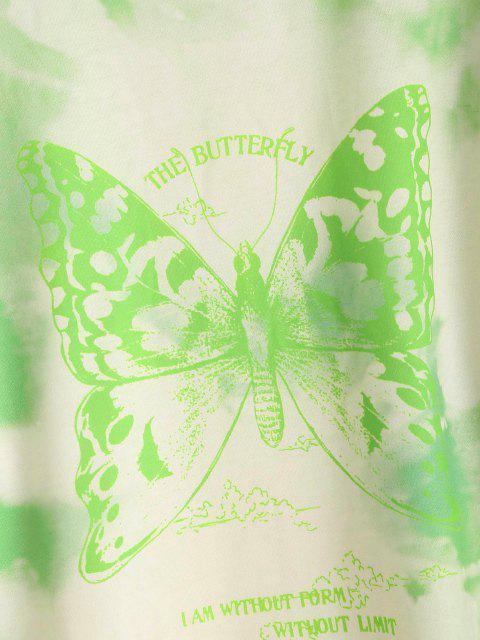 womens Tie Dye Butterfly Print Boyfriend Tunic Sweatshirt - LIGHT GREEN M Mobile