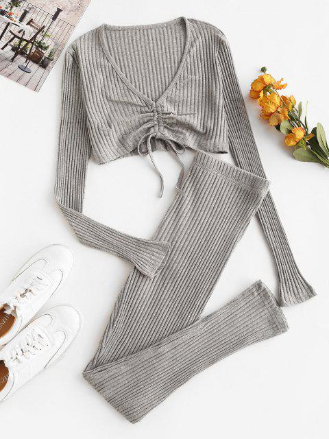 online Wide Rib Cinched Plunge Two Piece Pants Set - LIGHT GRAY L Mobile