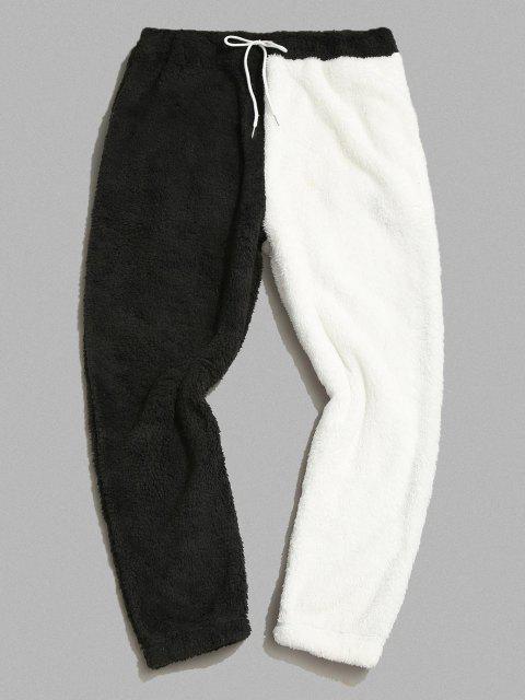 latest ZAFUL Color Blocking Panel Fluffy Pants - BLACK S Mobile
