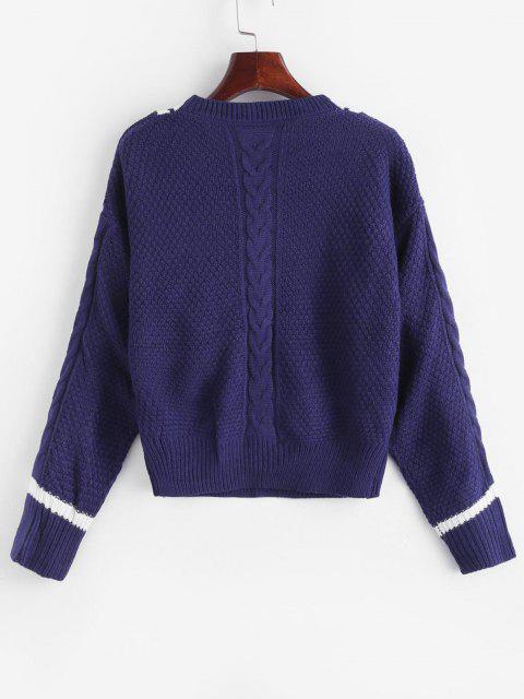 Camisola de Painel de Malha de Cabo de Gola de V - Azul Escuro L Mobile