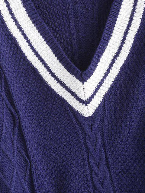 new V Neck Stripes Panel Cable Knit Sweater - DEEP BLUE L Mobile