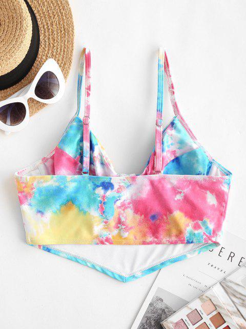 trendy ZAFUL Tie Dye Underwire Pullover Bikini Top - MULTI S Mobile