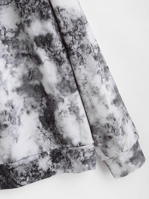 best Tie Dye Butterfly Printed Drop Shoulder Sweatshirt - BLACK M Mobile