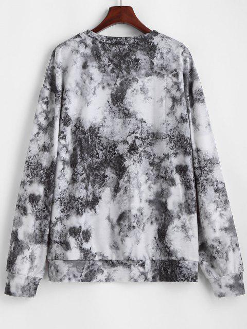 Tie Dye Butterfly Printed Drop Shoulder Sweatshirt - أسود M Mobile