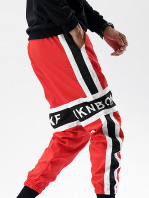 Pantalones con Estampado de Letra y de Color Bloque - Rojo XS Mobile