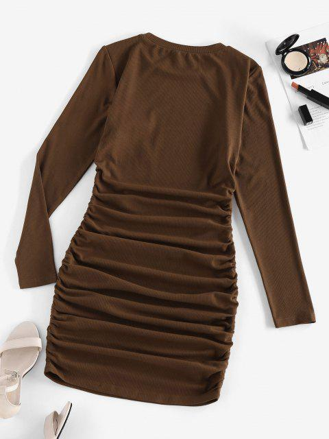 ladies ZAFUL Ribbed Ruched Bodycon Dress - DEEP COFFEE S Mobile