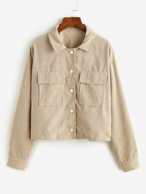 shop ZAFUL Corduroy Cargo Jacket - LIGHT KHAKI S Mobile