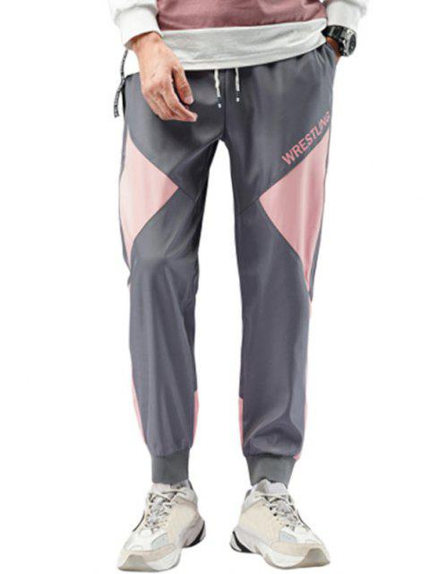 affordable Wrestling Colorblock Beam Feet Pants - GRAY S Mobile