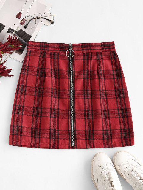 outfit Checked Pull Ring Zip Mini Skirt - RED L Mobile
