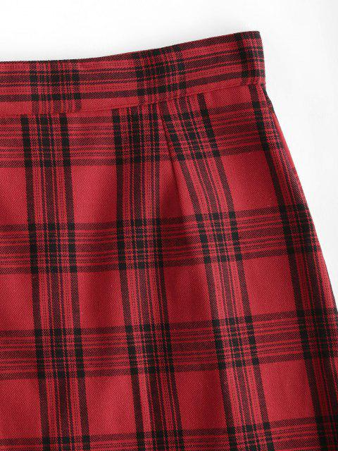 fancy Checked Pull Ring Zip Mini Skirt - RED M Mobile