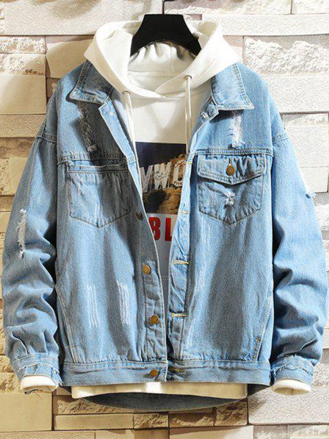 hot Ripped Frayed Patchwork Jean Jacket - BLUE L Mobile