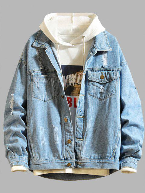 chic Ripped Frayed Patchwork Jean Jacket - BLUE 3XL Mobile