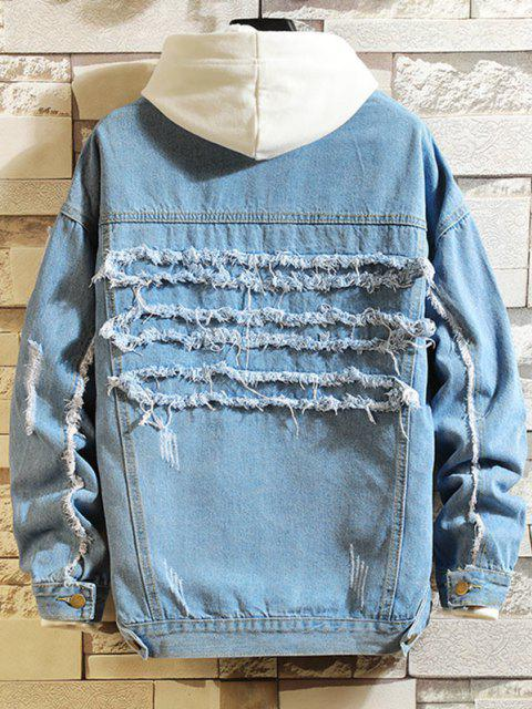 fancy Ripped Frayed Patchwork Jean Jacket - BLUE 2XL Mobile
