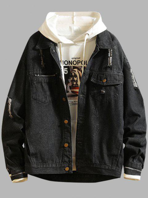 affordable Ripped Frayed Patchwork Jean Jacket - BLACK 3XL Mobile