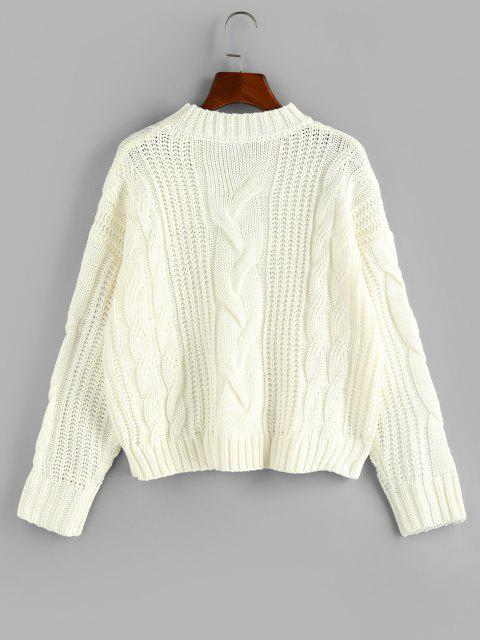 new ZAFUL Cable Knit Drop Shoulder Loose Sweater - WHITE L Mobile