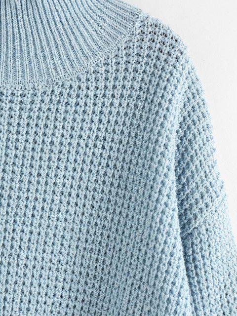 ZAFUL Camisola de Mock Pescoço Gota Ombro - Azul claro M Mobile