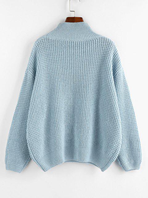 outfit ZAFUL Mock Neck Drop Shoulder Oversized Sweater - LIGHT BLUE L Mobile