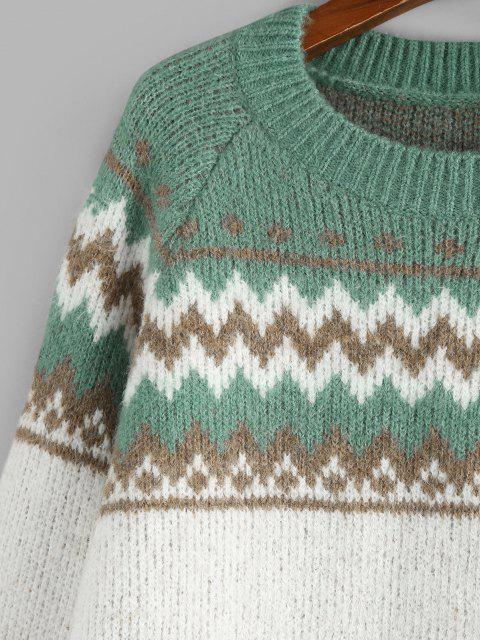 Maglione di Zigzag con Maniche Raglan di ZAFUL - Verde M Mobile