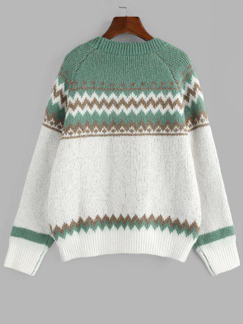 chic ZAFUL Zig Zag Raglan Sleeve Jumper Sweater - GREEN S Mobile