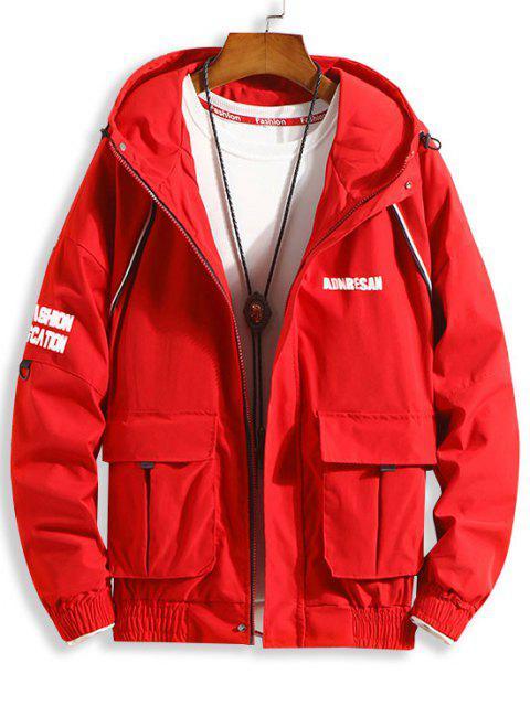 フラップポケットレタードロップショルダーフード付きジャケット - 赤 2XL Mobile