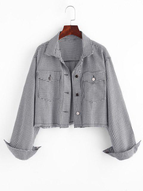 Houndstooth Raw Hem Shacket - أسود L Mobile