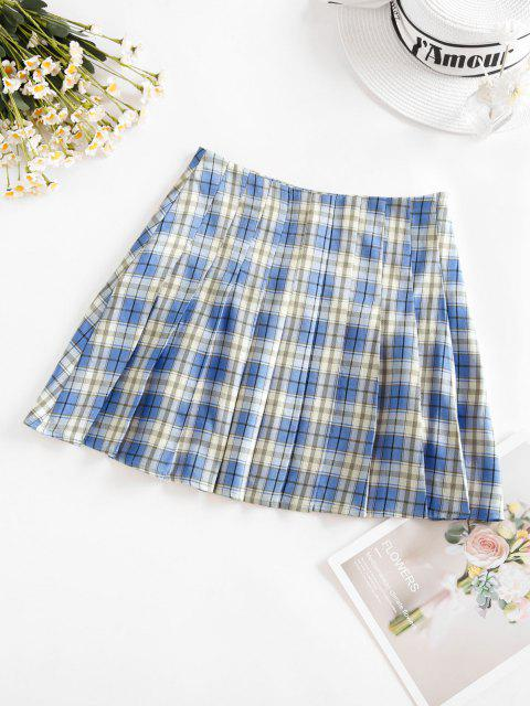 sale ZAFUL Plaid Mini Pleated Skirt - SKY BLUE M Mobile
