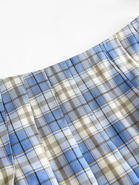 shops ZAFUL Plaid Mini Pleated Skirt - SKY BLUE S Mobile