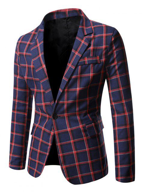 shops Windowpane Check Pattern Single Button Blazer - CHESTNUT RED M Mobile