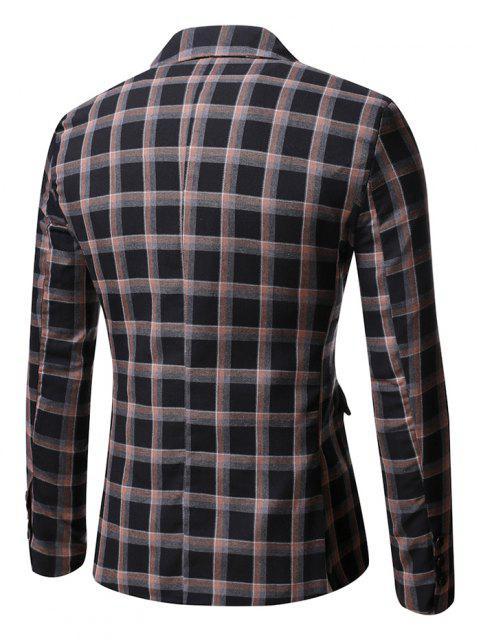 fashion Windowpane Check Pattern Single Button Blazer - BLACK M Mobile