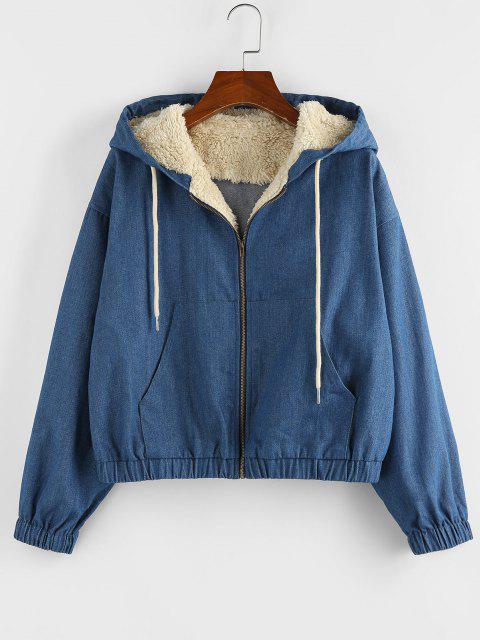 ZAFUL Faux Shearling Insert Hooded Drop Shoulder Denim Jacket - ازرق M Mobile