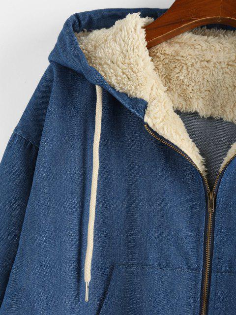 ZAFUL Veste à Capuche Goutte Epaule en Fausse Laine Insérée en Denim - Bleu Toile de Jean S Mobile