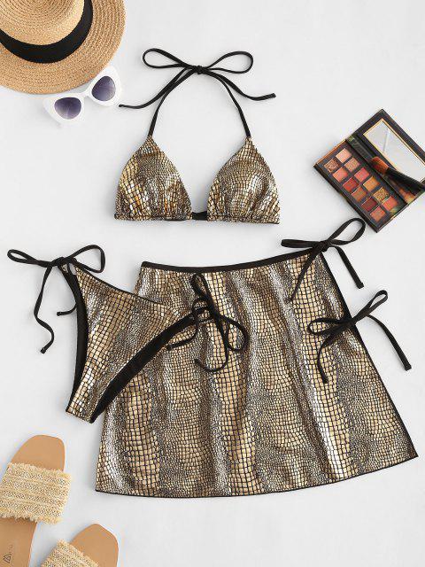 latest ZAFUL Metallic Snakeskin Ribbed Three Piece String Bikini Swimwear - GOLDEN S Mobile