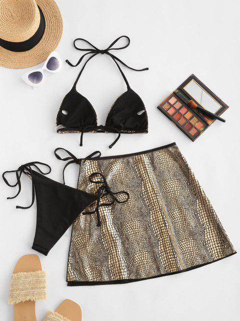 trendy ZAFUL Metallic Snakeskin Ribbed Three Piece String Bikini Swimwear - GOLDEN M Mobile