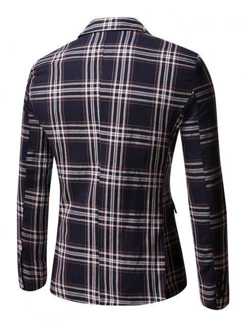 fashion Slit Single Button Plaid Blazer - MIDNIGHT BLUE M Mobile