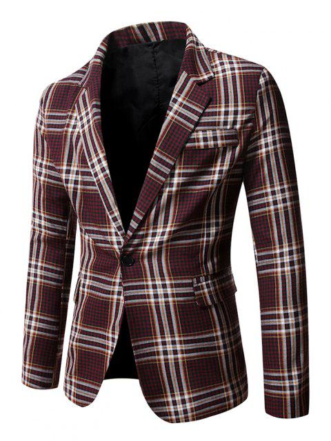 affordable Slit Single Button Plaid Blazer - RED WINE XL Mobile