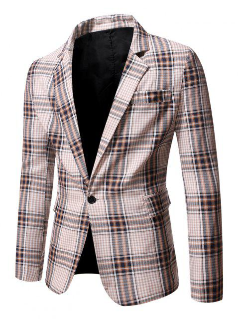 online Slit Single Button Plaid Blazer - CORNSILK M Mobile