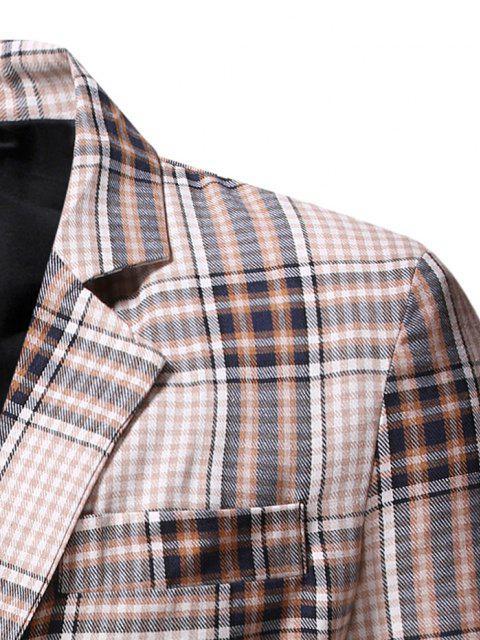 online Slit Single Button Plaid Blazer - CORNSILK M Mobile