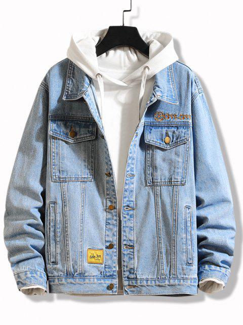 trendy Slogan Embroidery Flap Pocket Jean Jacket - BLUE S Mobile