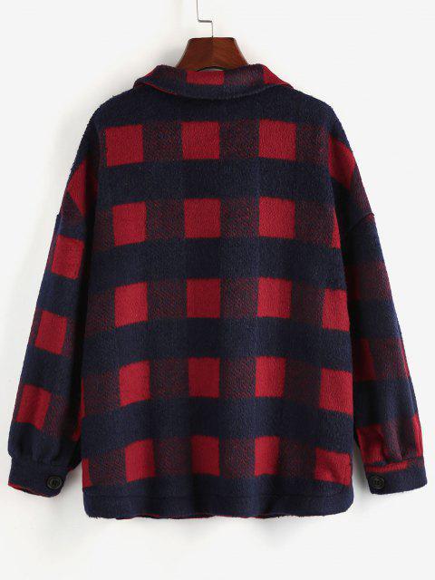 chic ZAFUL Checkered Drop Shoulder Pocket Coat - BROWN SUGAR L Mobile
